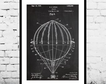 Hot Air Balloon Poster Hot Air Balloon Print Hot Air Balloon Patent Hot Air Balloon Art Hot Air Balloon Blueprint p613
