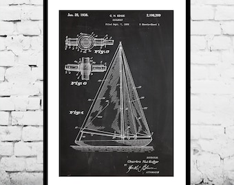 Sailboat Print Sailboat Poster Sailboat Art Sailboat Patent Sailboat Wall Decor Sailboat Wall Art Sailboat Blueprint Sailboat p419