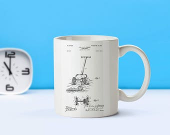 Lawnmower patent mug  coffee mug  coffee lover  patent art  patent mug  Home Gift Home and Garden Vintage Decor Garden DecorM164