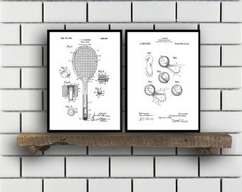 Tennis Patents Set of 2 Prints Tennis Prints Tennis Posters Tennis Blueprints Tennis Art Tennis Wall Art Sport Prints Sport Art Sp317