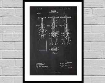 Patent Print of an Corkscrew - Art Print - Patent Poster - Wine - Wine Art - Wine Tasting - Wine Decor - Bar - wine rack p681