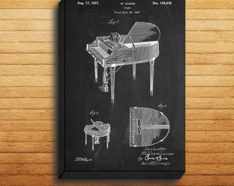CANVAS  Wurlitzer Butterfly Piano Model 235 Patent Wurlitzer Piano Poster Piano Print Piano Art Piano Decor Piano Blueprint p339