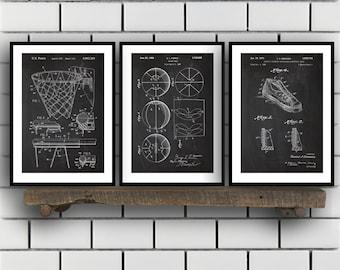 Basketball Patent, Basketball poster Set of THREE, Basketball Invention Patent, Basketball Poster, Basketball , Basketball Inventions SP243