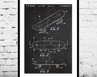 Skateboard Patent, Skateboard Poster, Skateboard Wall Art Print, Patent Art, Patent Poster, Blueprint, Patent Print p855