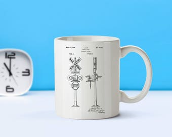 Railroad Crossing patent mug  coffee mug  coffee lover  patent art  patent mug  Train Decor Railroad Decor Locomotive DecorM114