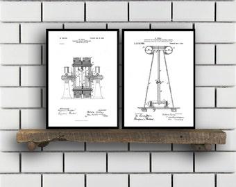 Tesla Patent Set of TWO Tesla Electrical Transmitter Patent Tesla Poster Tesla Transmitter Print Tesla Patent Tesla Inventions SP124