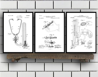 Doctor Patents Set of 3 Prints, Doctor Prints, Doctor Posters, Doctor Blueprints, Doctor Art, Doctor Wall Art, Doctor Prints Sp302