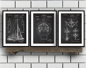 Nautical Patent SET of 3 - Nautical Patent - Nautical Art - Nautical Patent - Mancave Decor - Nautical, Sailing Art, Home Decor SP461