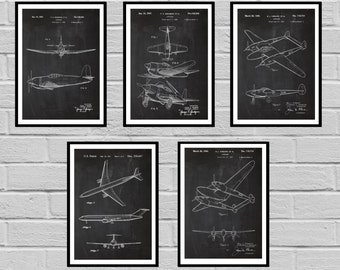 Airplane Patent SET of 5 Aircraft Poster Airplane Art Aviation Decor Airplane Wall Art Airplane Blueprint Aviation gifts Pilot sp422