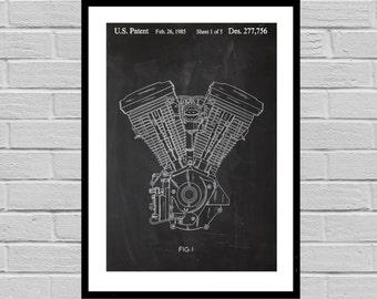 Harley Davidson Motorcycle Blueprint Patent Poster, Wall Art Poster, Harley Motorcycle Print, Wall Art Poster, Patent prints, Harley p1132