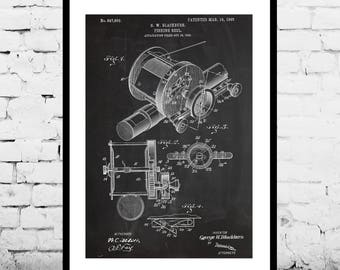 Fishing reel Patent Fishing reel Patent Poster Marine Mancave decor Gift for him Nautical art Fishing Fisherman p571