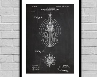 Incandescent Lamp Patent Incandescent Lamp Poster Incandescent Lamp Blueprint  Incandescent Lamp Print Lightbulb Patent Art p620