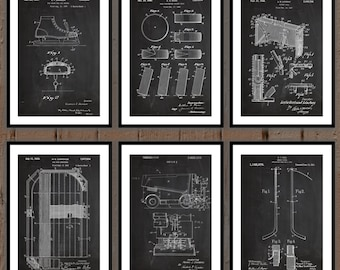 Ice Hockey Patent Print Set Of 6, Hockey Patent prints, Hockey posters, Hockey art, Gift for him, Sports gift, Hockey wall art sp01