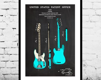 Fender Guitar Patent, Fender Bass Guitar Poster,Fender Bass Guitar Patent, Bass Guitar Print,Fender Bass Guitar Decor, Fender Bass sp1433