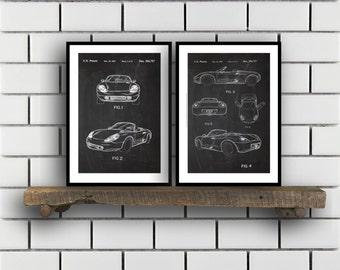 Porsche Patent Set of TWO Porsche Patent Art  Porsche Art  Porsche Poster  Porsche Wall Art  Porsche Porsche SP167