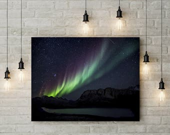 framed nature poster canvas Aurora Borealis Mountain Photography Nature Landscape Nature Photography Home Decor Scenery Decor PH0158