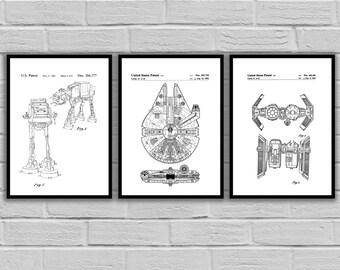 Star Wars patent, Millennium Falcon Star Wars Poster, Tie Bomber Star Wars Patent, Millennium Falcon Star Wars Print, Millennium FalconSP534