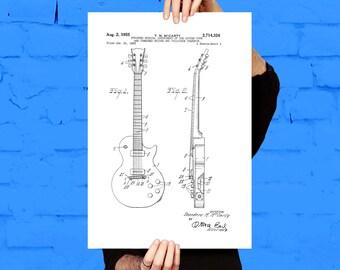 Gibson Les Paul Guitar Print, Gibson Les Paul Guitar Poster, Gibson Les Paul Patent, Les Paul Guitar Art, Gibson Les Paul Decor p806