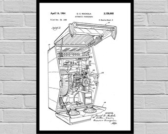 Jukebox Phonograph Patent, Jukebox Blueprint, Patent Print jukebox, Jukebox, Gifts for Music Lovers sp773