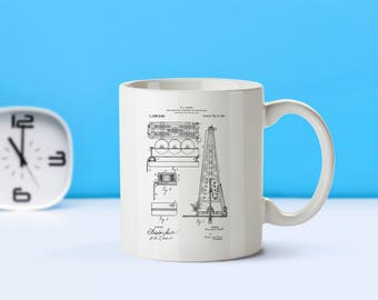 Oil Drilling Rig patent mug  coffee mug  coffee lover  patent art  patent mug  Oil Rig Howard Hughes Industrial DecorInventionM138
