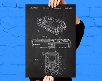Game Boy Nintendo Print, Game Boy Nintendo Poster, Game Boy Nintendo Patent, Game Boy Nintendo Decor, Game Boy Nintendo Art p1200