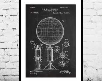 Geographic Globe Patent, World Globe Poster, Globe Blueprint, Globe Print, Globe Art, Globe Decor p140