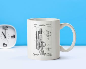 Browning Firearm patent mug  coffee mug  coffee lover  patent art  patent mug Gun DecorGun GiftMilitary GiftArmy DecorVintageM76