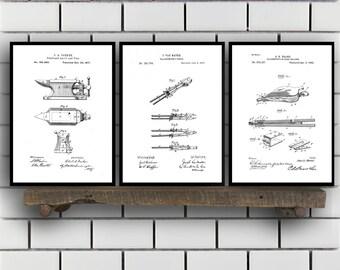 Blacksmith Patent Prints, Blacksmith Set of THREE, Blacksmith Invention Patent, Blacksmith Poster, Blacksmith Print, Blacksmith SP258