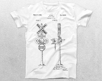 Railroad Crossing Patent T-Shirt, Railroad Blueprint, Patent Print T-Shirt, Vintage art Shirt, Train Shirt, Transportation Gift p010