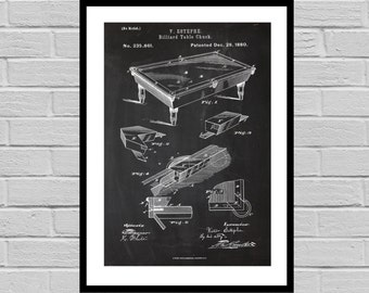 Billiard Table Print, Billiard Table Patent, Billiards, Pool Table, Billiard Art, Billiards Blueprint, Pool hall art, pool table SP28