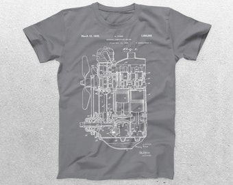 Internal Combustion Engine Patent T-Shirt, Internal Combustion Engine Blueprint, Patent Print T-Shirt, Mechanic Gift Ideas p1124