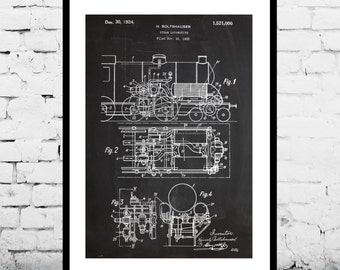 Train Locomotive Patent, Train Locomotive Poster, Train, Locomotive Print, Train Locomotive Art, Train Blueprint, Train Decor p641