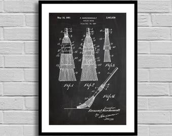 Curling Broom Patent, Curling Broom Patent Poster, Curling Broom Blueprint, Curling Broom Print, Sports Decor, Winter Sports, Athlete p760