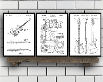 Guitar Patent, Set of 3,  Rock n Roll  Patent, Music Instrument Prints, Rock n Roll  Gifts, Musician Wall Decor, Music Wall Art SP208