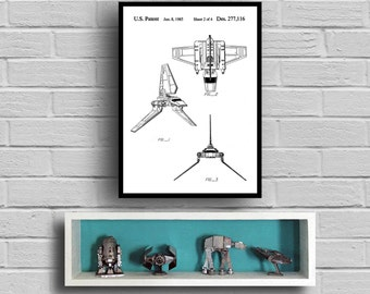 Star Wars patent Imperial shuttle Star Wars Poster Imperial shuttle Star Wars Patent Star Wars Print Millennium Falcon black and white p931