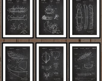 Canoe Patent Prints - Set of 6 - Canoe Patent, Canoe Poster, Canoe Blueprint, Canoe Print, Canoe Art, Lake Decor sp34