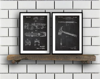 Firefighter Patent Prints Firefighter Set of TWO vintage Firefighter Invention Patent Firefighter Poster Firefighter Print SP278