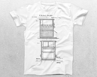 Bee Hive Patent T-Shirt, Bee Hive Blueprint, Patent Print T-Shirt, Beekeeper Shirt, Gifts for Beekeepers p462