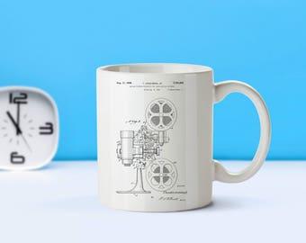Motion Picture Projector patent mug  coffee mug  coffee lover  patent art  patent mug  Movie Decor Vintage Movie Gift FilmM142