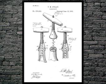 Corkscrew Print Corkscrew Poster Corkscrew Patent Corkscrew Decor Corkscrew Art Corkscrew Blueprint Corkscrew Wall Art Wine Art p086
