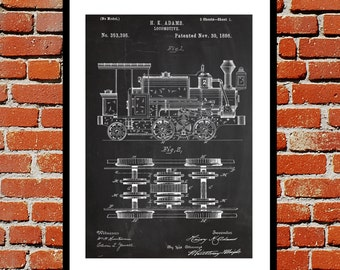 Locomotive Print Locomotive Poster Locomotive Patent Locomotive Art Locomotive Blueprint Locomotive Wall Art Train Decor p196