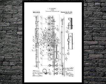 Flute Print, Flute Poster, Flute Patent, Flute Art, Flute Decor, Flute Blueprint, Flute Wall Art, Musical Instrument Decor p127