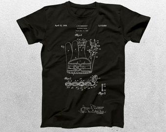 Baseball Glove Patent T-Shirt, Baseball Glove Blueprint, Patent Print T-Shirt, Baseball Player Shirt, Baseball Coach Sports Shirt p412