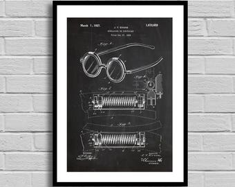 Eyeglasses Patent Eyeglasses Patent Poster Eyeglasses Blueprint Eyeglasses Print Optometrist Gift Medical Decor Office Decor Vintage p541