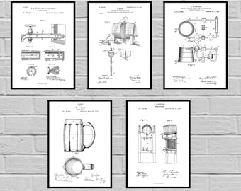 Beer Patents SET of 5 Prints Beer Poster Beer Patent Beer Print Beer Art Beer Decor Beer Blueprint Beer Sign Beer Wall Art sp469