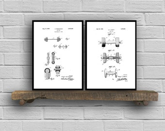 Dumbbell Prints  Set of 2  Dumbbell Patent Dumbbell Poster Dumbbell Blueprint Dumbbell Print Dumbbell Art Dumbbell Decor sp155