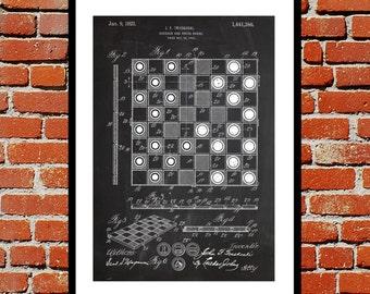 Checkerboard Patent, Checkerboard Poster, Checkerboard Blueprint, Checkerboard Print, Checkerboard Art, Checkerboard Decor p1190