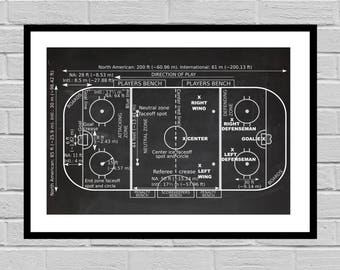 Vintage Ice Hockey Rink Patent, Ice Hockey Print, Hockey Gift, Hockey Decor, Mancave decor, Gift for him, Hockey art, Hockey Rink p897