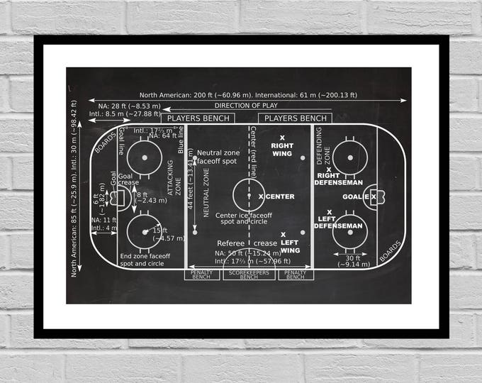 Featured listing image: Vintage Ice Hockey Rink Patent, Ice Hockey Print, Hockey Gift, Hockey Decor, Mancave decor, Gift for him, Hockey art, Hockey Rink p897
