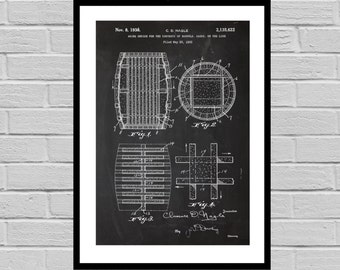 Patent Print of an Wine barrel - Art Print - Patent Poster - Wine - Wine Art - Wine Tasting - Wine Decor - Bar - wine rack p682